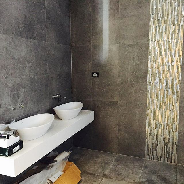 Which Direction To Lay Tile In Bathroom: Double Bowls On A Custom Granite Slab. Mosaic Wall Feature